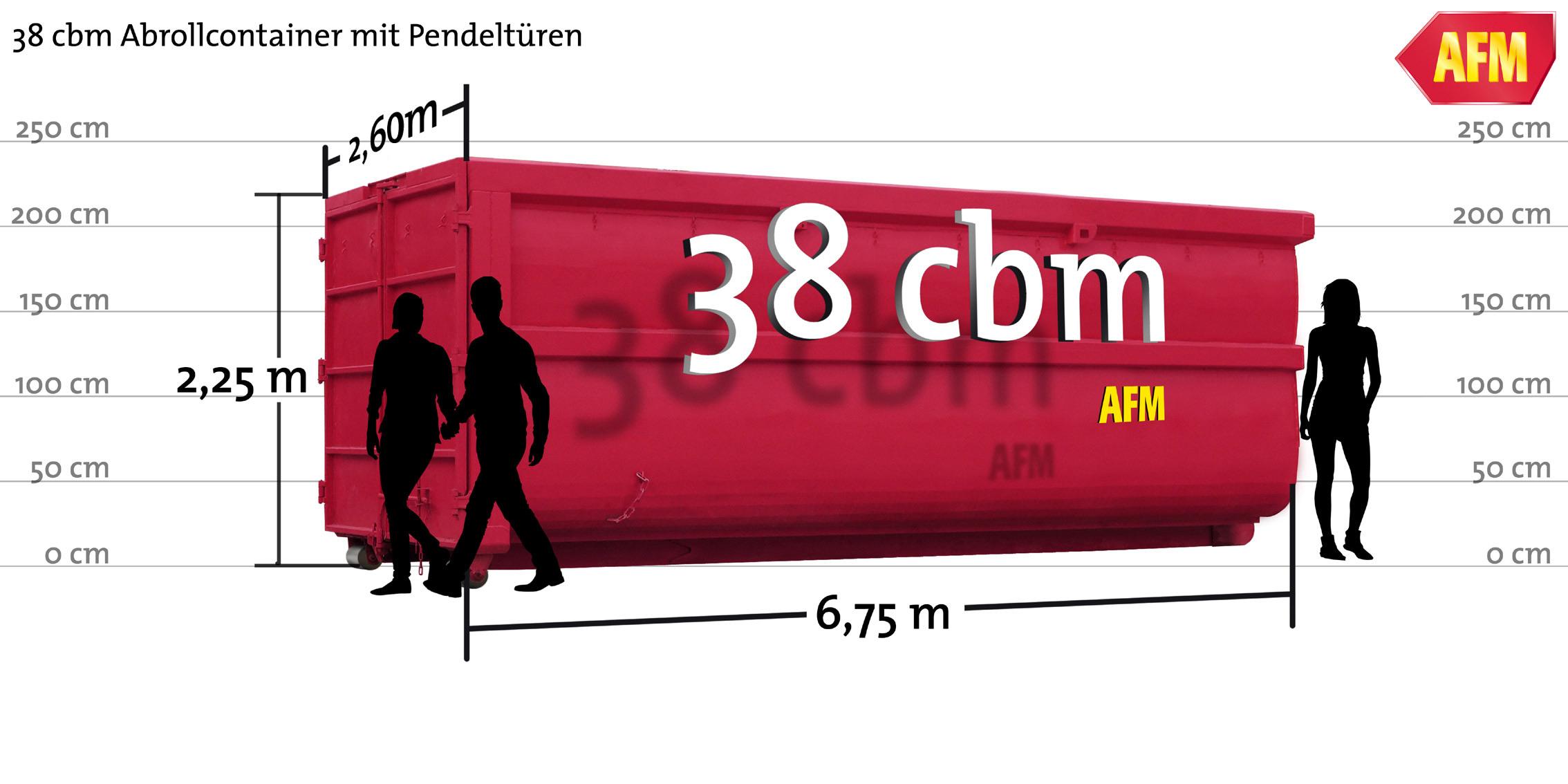 Abroll-Container mit Pendeltüren 38cbm