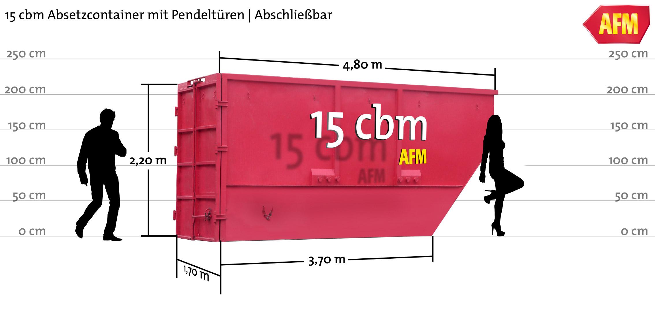 Absetz-Container mit Pendeltüren 15cbm