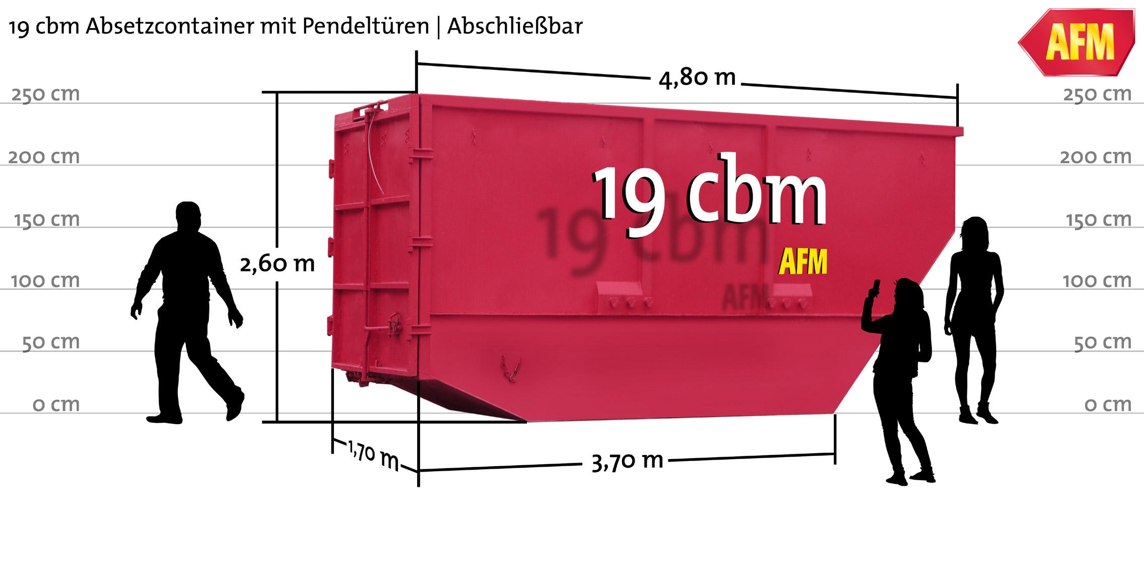 Absetz-Container mit Pendeltüren 19cbm
